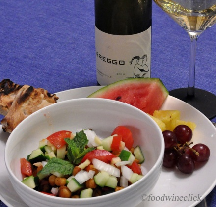 Grilled flatbread, fresh fruit, and Riesling made a perfect match