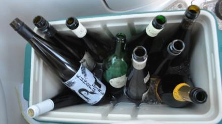 Wine tasting on the boat is very informal