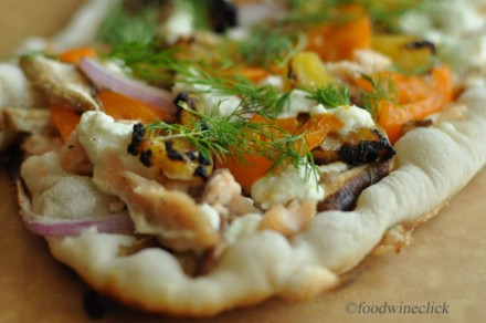 Trout, pineapple, onion, shiitake, tomato, chevre, dill with balsamic drizzle