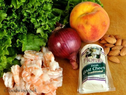 Ingredients: shrimp, peach, red onion, curly green lettuce, almonds, chevre