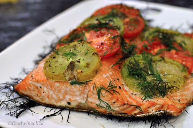 Grilled Tomato and Dill Salmon from foodwineclick.com