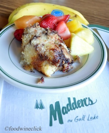 Sunday brunch was a continuation of the friendly competition between chefs. This is Amy DeSantos' bread pudding, with fresh fruit on the side.