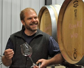 Enthusiastic barrel tasting with Don Sandberg