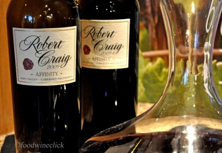 Robert Craig's Flagship wine: Affinity, a Bordeaux style blend.