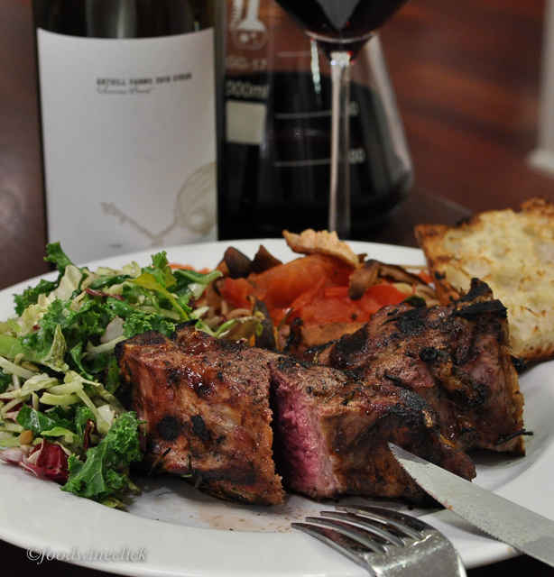 The fruit in the wine emerges with the rare grilled lamb chop.
