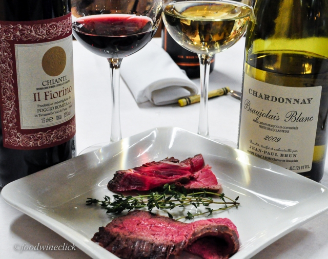 Rare steak, hot and cold.  Chianti and a memorable Chardonnay. Mix and match.