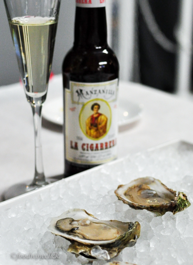 Next was (dry) Manzanilla Sherry & oysters