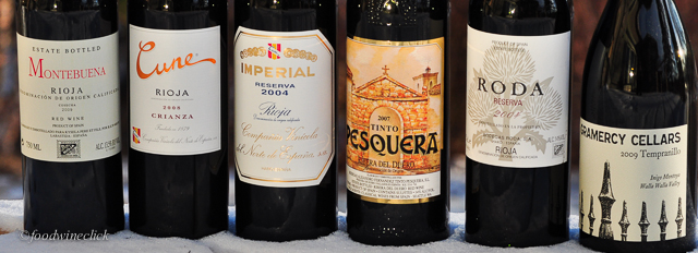 A selection of Tempranillo based wines, reds from Rioja, Ribera del Duero, and Washington State