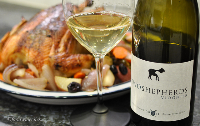 Two Shepherds Viognier was a better choice with the roast chicken