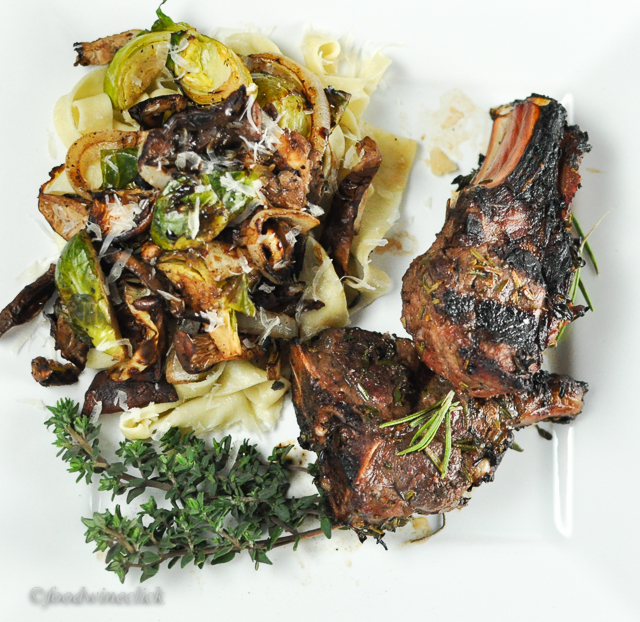 Goat chops & pasta with brussels sprouts, onions & mushrooms
