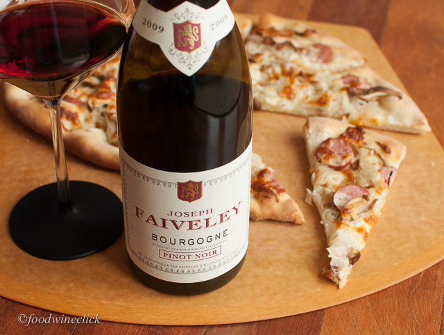 Joseph Faiveley Bourgogne Rouge with Kielbasi & Sauerkraut flatbread.