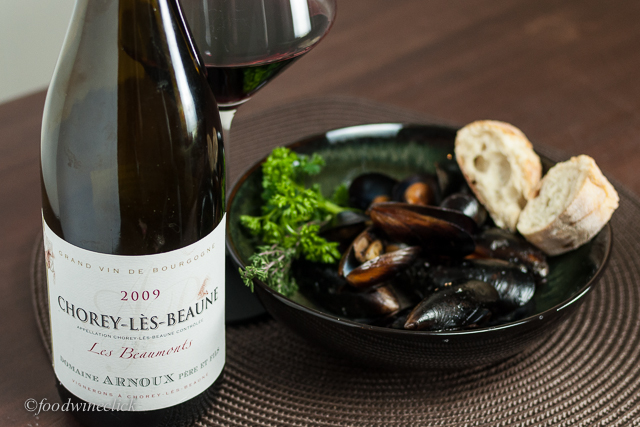 The Chorey Lès Beaune had an earthy side that held up to the mussels