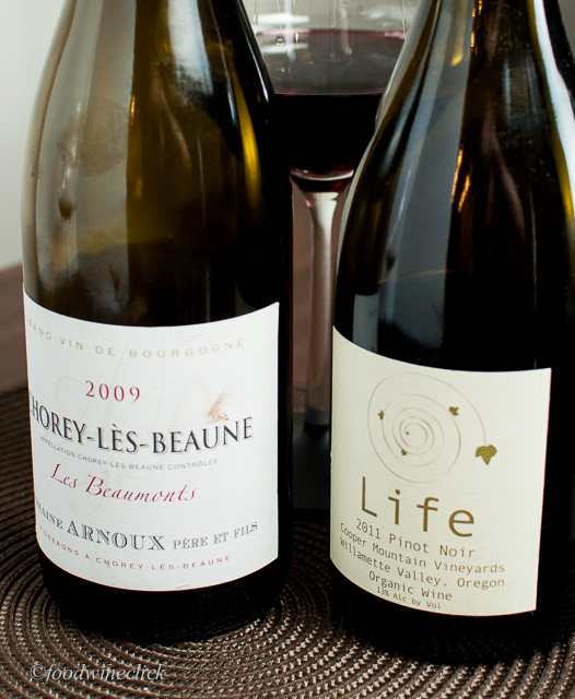 As an experiment, we tried both the Burgundy and an Oregon Pinot Noir.