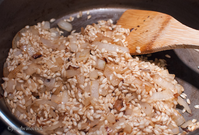 Start by browning onions and rice