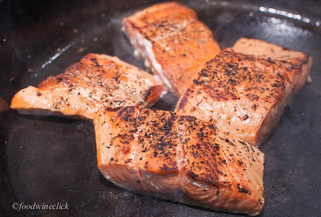 Sear the salmon quickly