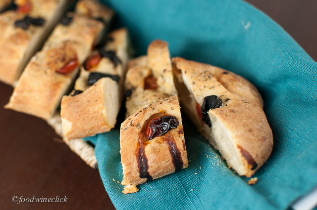 Focaccia stuffed with olives and cherry tomatoes