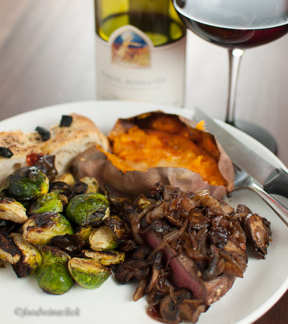 A more intense burgundy wine easily stands up to a rich steak