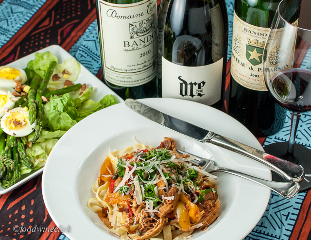 Rich chicken pasta with Mourvedre/Bandol