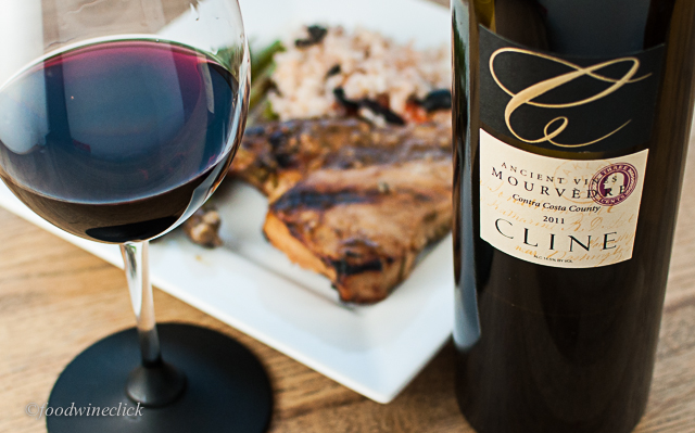 Cline Mourvedre: a nice partner to a big tuna steak in a rich balsamic marinade.