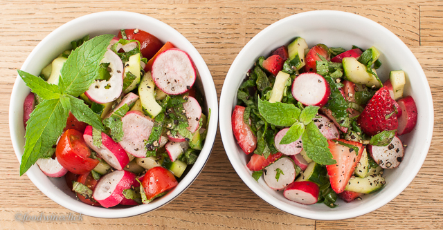 Two different versions of radish salad
