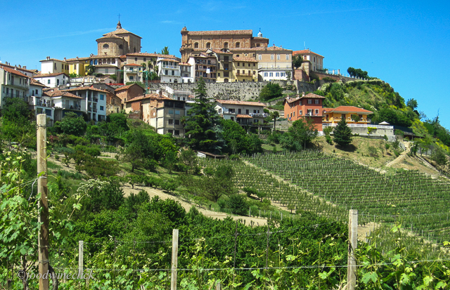 Looking up at La Morra, one of the hilltop towns in Barolo.