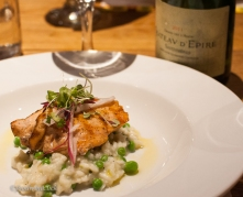 Salmon & spring pea risotto with a rich Savenierres (even better with the leftover Champagne!)