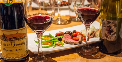 A choice of Cru Beaujolais or a special Côtes du Rhône with a deconstructed Tenderloin Niçoise Salad.