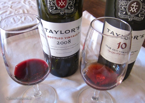 The 10 year tawny is lighter and warmer in color.