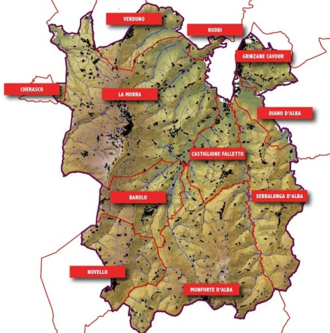 Barolo DOCG showing all 11 communes.