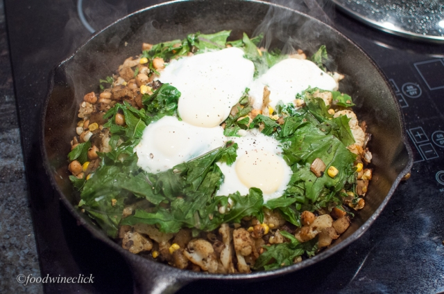 The kale and the eggs add essential contrast to the other flavors and textures.