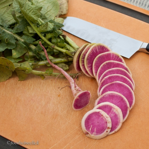 Watermelon radish from our Bossy Acres CSA box.