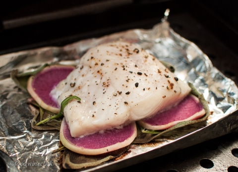 Garden herbs and watermelon radish gently infuse walleye on the grill