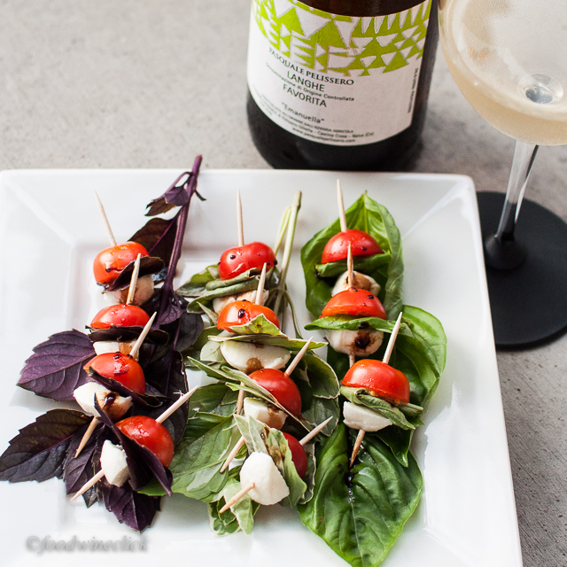 A crisp white wine is a nice match to the caprese skewers