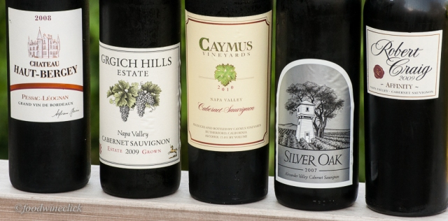 A Bordeaux for reference, plus a variety of well known California Cab's