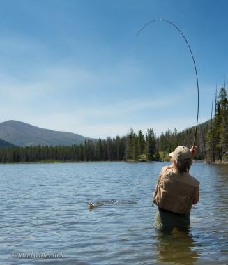 Julie fishing at Parker Lake