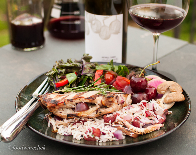 finished cherry and mushroom stuffed pork chops with anthill farms pinot noir