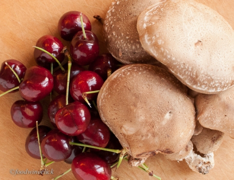 cherries and shiitake mushrooms