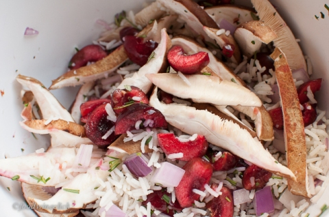 basmati rice stuffing with cherries, red onions, and shiitake mushrooms