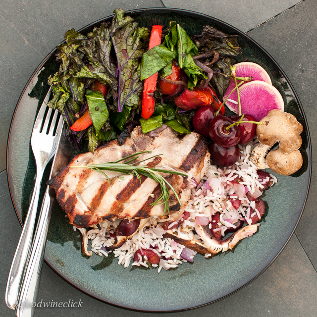 pork chops with stuffing and grilled salad