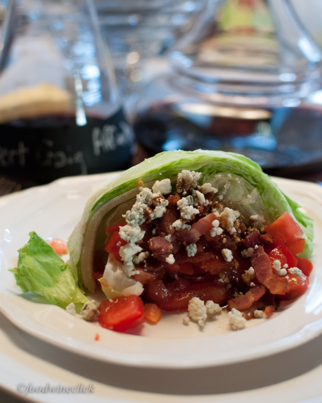 Wedge salad - bacon and blue cheese bridge nicely to the Cabs