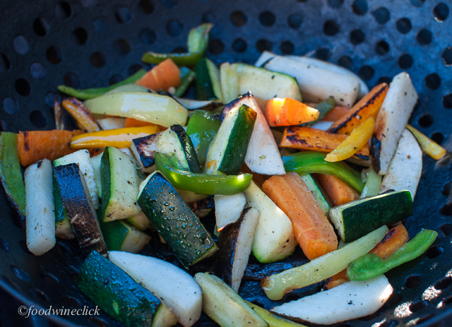 Roasting the CSA veggies: carrots, radish, zucchini, peppers