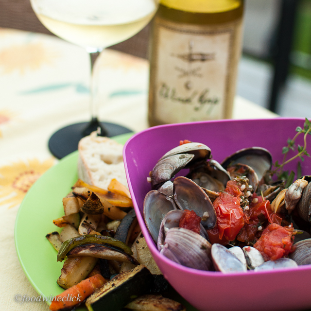 Steamed manila clams, roasted CSA veggies, crusty bread & Wind Gap. Ahh!