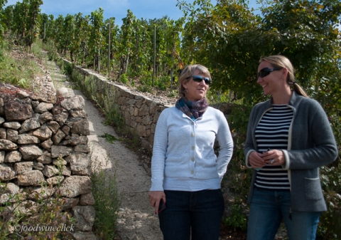 Julie and Erin Cannon Chave at the bottom of the hill at Hermitage - steep!