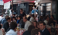Live music at lunch by a Rue Cler Brasserie