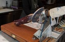 Cool tool for slicing Spanish ham.