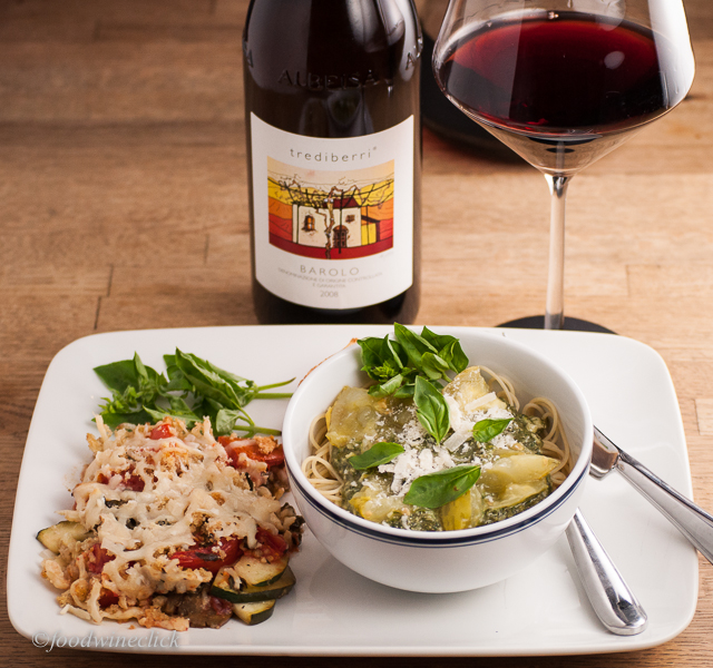 A rich meatless dinner can balance an intense Barolo