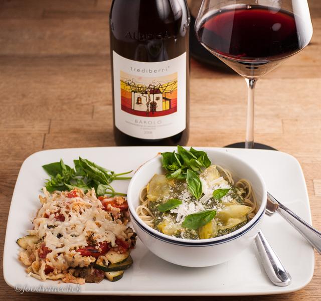 A rich meatless dinner can balance an intense Barolo