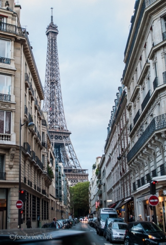 eiffel tower view from paris neighborhood