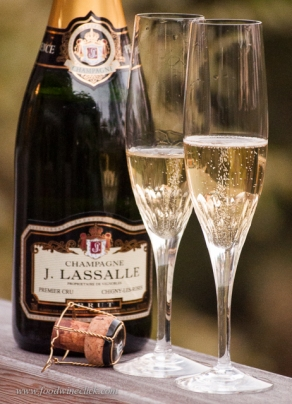 J. Lassalle Champagne and flutes