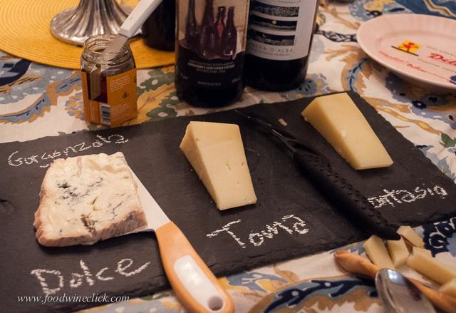 Formaggi: Gorgonzolla Dolce, Toma, Montasio